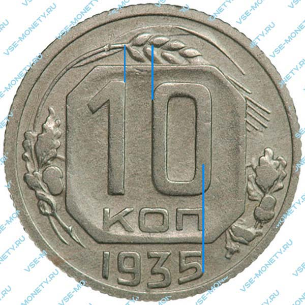 10 копеек 1935 года, шт.Б - цифры номиналы и буква «КОП» сближены (Федорин №62а)