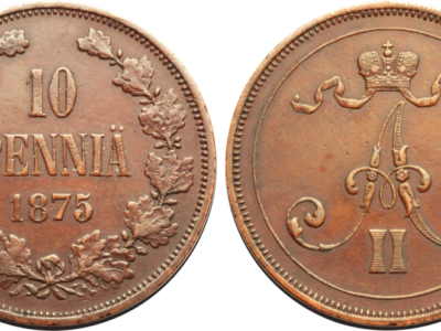 Медная монета русской Финляндии 10 пенни 1875 года