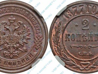 Медная монета 2 копейки 1877 года