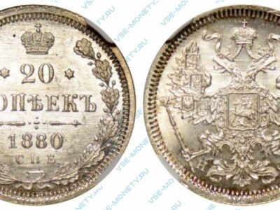 Серебряная монета 20 копеек 1880 года