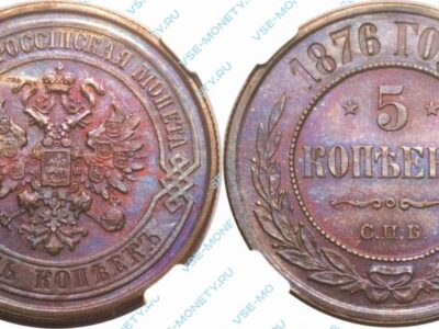 Медная монета 5 копеек 1876 года