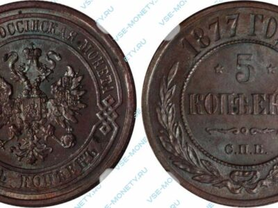 Медная монета 5 копеек 1877 года