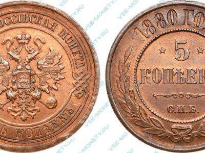 Медная монета 5 копеек 1880 года