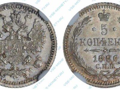 Серебряная монета 5 копеек 1880 года