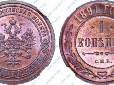 Медная монета 1 копейка 1891 года