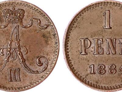 Медная монета русской Финляндии 1 пенни 1884 года