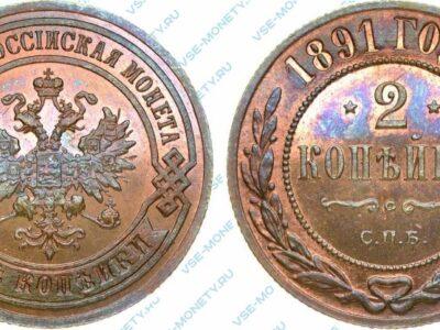 Медная монета 2 копейки 1891 года