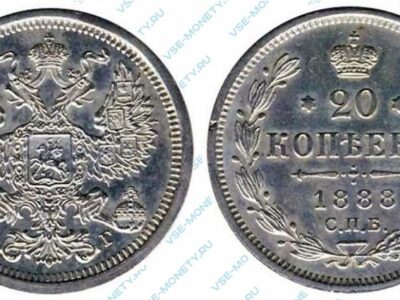 Серебряная монета 20 копеек 1888 года