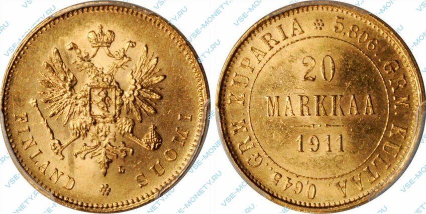 Золотая монета русской Финляндии 20 марок 1911 года