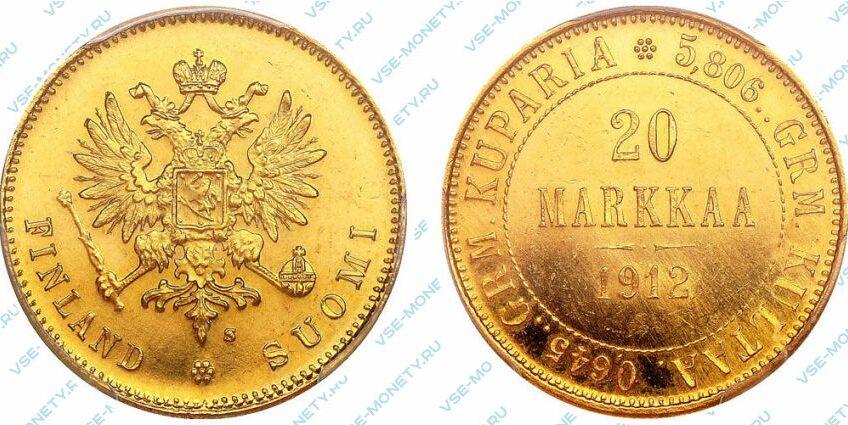 Золотая монета русской Финляндии 20 марок 1912 года