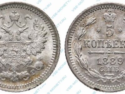 Серебряная монета 5 копеек 1889 года
