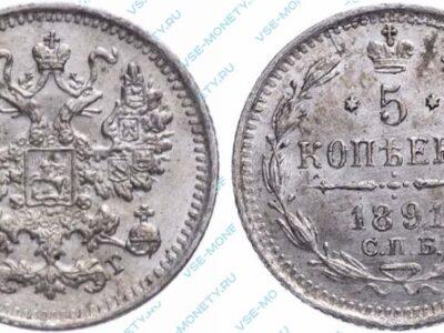 Серебряная монета 5 копеек 1891 года