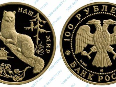 Памятная золотая монета 100 рублей 1994 года «Соболь» серии «Сохраним наш мир»