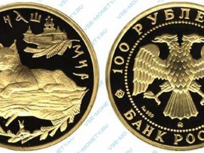Памятная золотая монета 100 рублей 1995 года «Рысь» серии «Сохраним наш мир»