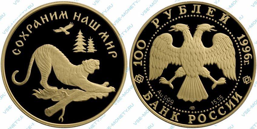 Памятная золотая монета 100 рублей 1996 года «Амурский тигр» серии «Сохраним наш мир»