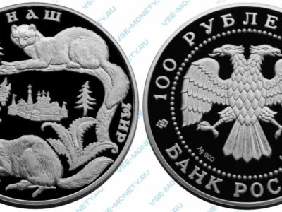 Памятная серебряная монета 100 рублей 1996 года «Соболь» серии «Сохраним наш мир»