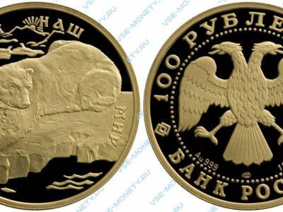Памятная золотая монета 100 рублей 1997 года «Полярный медведь» серии «Сохраним наш мир»