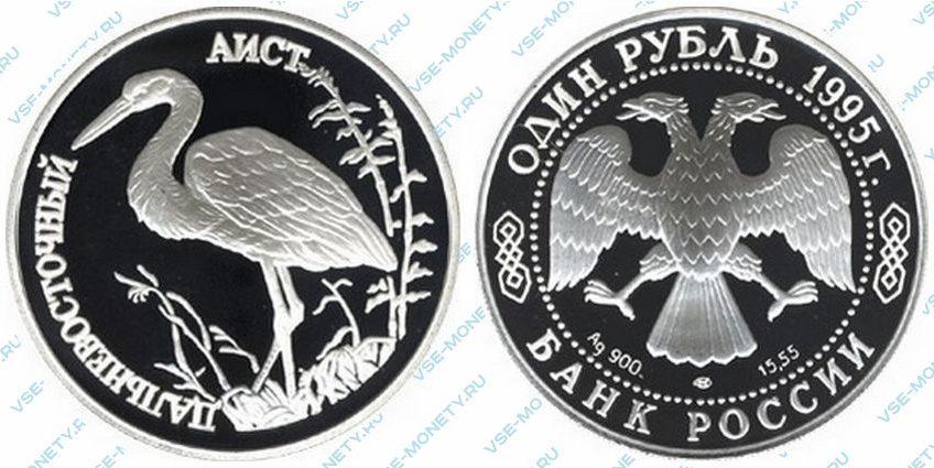 Памятная серебряная монета 1 рубль 1995 года «Дальневосточный аист» серии «Красная книга»