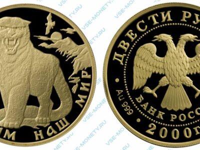 Юбилейная золотая монета 200 рублей 2000 года «Снежный барс» серии «Сохраним наш мир»