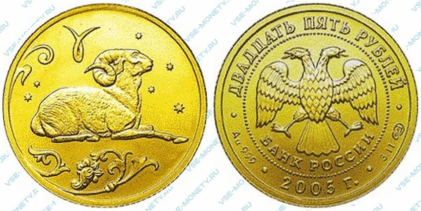 Юбилейная золотая монета 25 рублей 2005 года «Овен» серии «Знаки зодиака»
