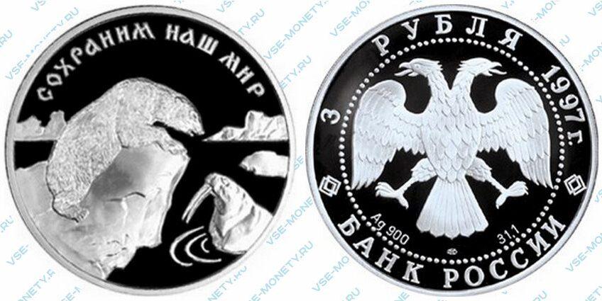 Памятная серебряная монета 3 рубля 1997 года «Полярный медведь» серии «Сохраним наш мир»