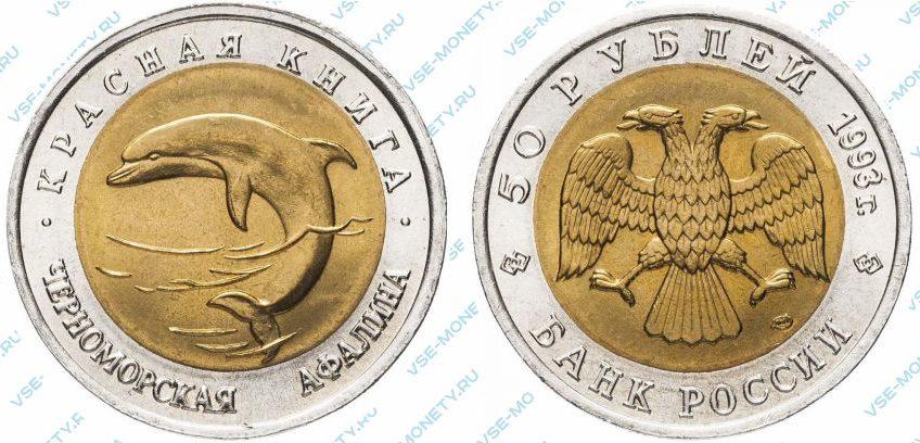Памятная биметаллическая монета 50 рублей 1993 года «Черноморская афалина» серии «Красная книга»