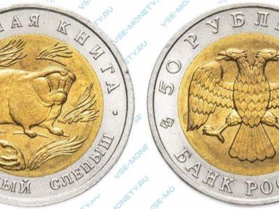 Памятная биметаллическая монета 50 рублей 1994 года «Песчаный слепыш» серии «Красная книга»